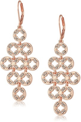 Anne Klein Rose Gold Tone Pave Chandelier Leverback Earrings