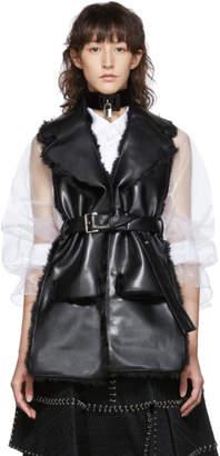 Noir Kei Ninomiya Black Faux-Leather and Faux-Fur Belted Vest