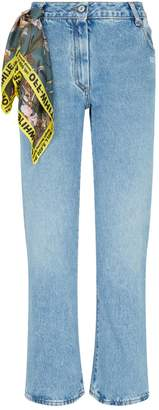 Off-White Off White Distressed Cropped-Leg Jeans