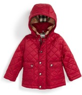 Burberry Infant Girl's 'Jamie' Quilted Hooded Puffer Jacket