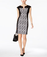 Connected Petite Printed Panel Sheath Dress