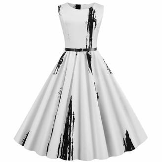KPILP Womens A-line Dress Solid Color Sleeveless Round Neck Hepburn Vintage 1950s Mini Dresses Retro Polka Dot Print Housewife Casual Evening Party Prom Dress Ladies Elegant Dress(White M)