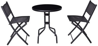 Overstock 3 pcs Outdoor Folding Bistro Table Chairs Set - Black