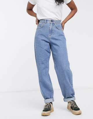 Asos Design DESIGN jogger jeans with elasticated waist in mid wash blue
