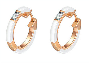 Camilla White Ceramic Diamond Huggie Earrings