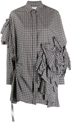 Enfold Ruffle Detail Checkered Shirt