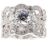 JCPenney FINE JEWELRY DiamonArt Cubic Zirconia Sterling Silver Vintage-Style Bridal Ring and Guard Set