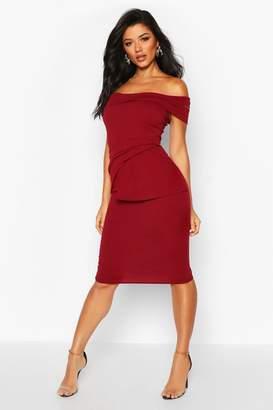 boohoo Off Shoulder Pleated Peplum Bodycon Midi Dress