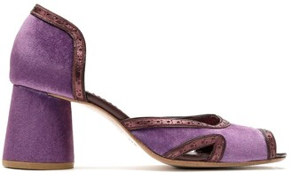 Sarah Chofakian Leather-Trimmed Chunky Heel Sandals