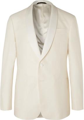 Giorgio Armani White Shawl-Collar Slub Silk And Wool-Blend Tuxedo Jacket