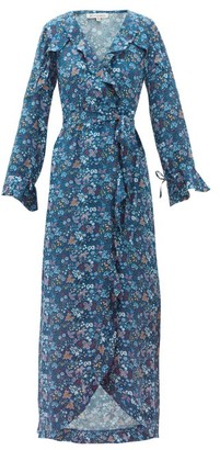 D'Ascoli Ruffled Floral-print Silk Dress - Blue Print