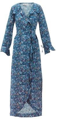 D'Ascoli Ruffled Floral Print Silk Dress - Womens - Blue Print