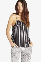 BCBGeneration Striped Ruffle-Front Cami - Black