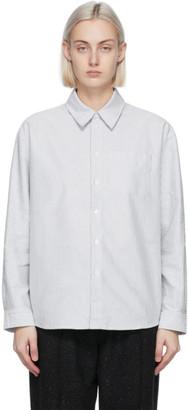 A.P.C. Blue and White Striped Boyfriend Shirt