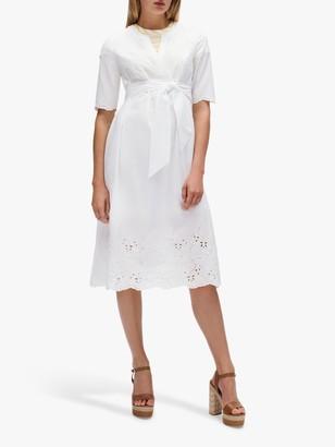Tommy Hilfiger Tie Belt Short Sleeve Dress, White