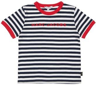 Little Marc Jacobs Logo Striped Cotton Jersey T-Shirt
