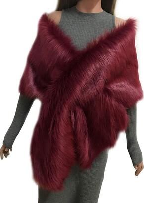 Asken Women Faux Fur Bridal Stole Long Evening Bolero Oversized Thick Warm Shrug Shoulder Wrap Burgundy