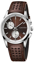 Calvin Klein Bold Stainless Steel and Leather Strap Watch, K5A371GK