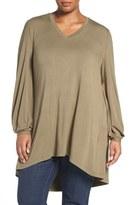 Melissa McCarthy Long Sleeve V-Neck Tee (Plus Size)