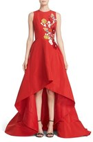 Women's Reem Acra Embellished Applique Silk Faille High/low Gown