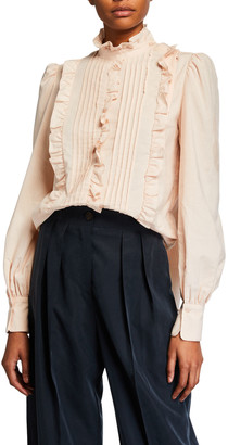 See by Chloe High-Neck Ruffle Pintuck Blouse