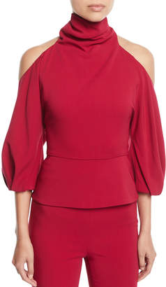 Cushnie Turtleneck Cold-Shoulder Blouson-Sleeve Stretch-Fabric Top