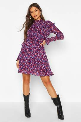 boohoo Floral High Neck Woven Ruffle Skater Dress