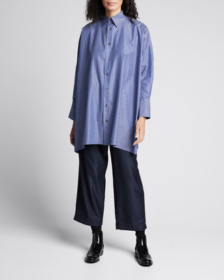 eskandar Striped Button-Down Wide A-Line Shirt