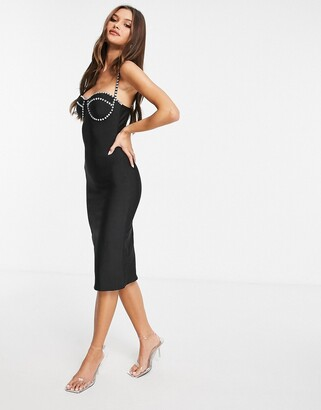 Rare London bandage dress with diamonte detail in black