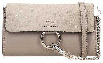 Chloé Mini Faye Shoulder Bag In Grey Suede And Leather