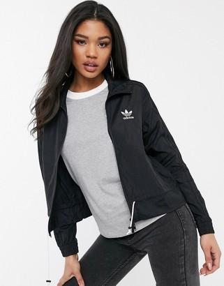 adidas ruffle track jacket in black