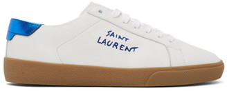 Saint Laurent White and Blue Court Classic Sneakers