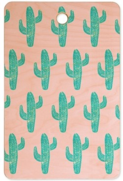 Deny Designs Bianca Green Linocut Cactus Cutting Board