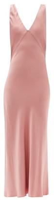 ASCENO Bordeaux V-neck Silk-satin Slip Dress - Dusty Pink
