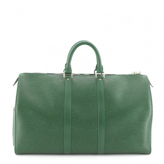 Louis Vuitton Keepall Green Leather Travel bags