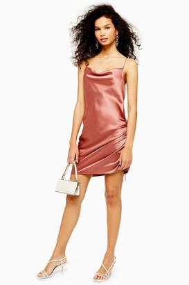 Topshop Womens Rose Pink Ruched Mini Satin Slip Dress - Rose