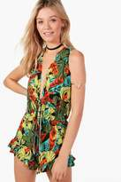 boohoo Amber Tropical Print Tie Front Playsuit
