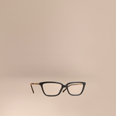 Burberry Check Detail Rectangular Cat-eye Optical Frames