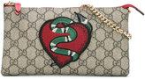 Gucci GG Supreme snake heart bag
