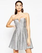 Asos NIGHT Metallic Fluff Bandeau Mini Dress
