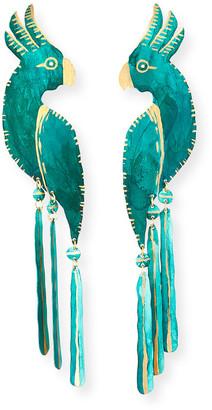 We Dream In Colour Cockatoo Earrings, Verdigris