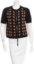 Marni Leather-Trimmed Short Sleeve Cardigan