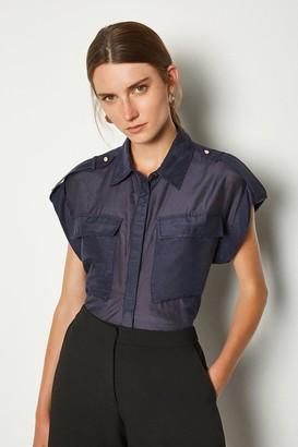 Karen Millen Silk Sleeveless Shirt With Pockets