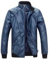 Sawadikaa Men's Casual PU Faux Leather Jacket Vintage Motor Bike Jacket