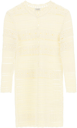 Saint Laurent CROCHET DRESS M Beige, White Cotton