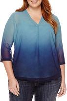 Liz Claiborne 3/4-Sleeve Blouse - Plus