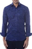 Bertigo Navy Blue Camo Printed Button Front Shirt