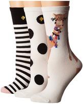 Kate Spade Camel 3-Pack Crew Women's Crew Cut Socks Shoes