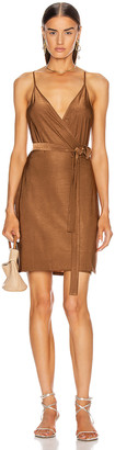 L'Agence Tate Wrap Dress in Copper | FWRD