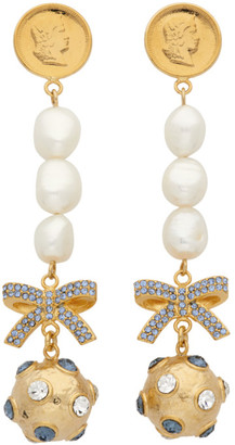 Erdem Gold and Blue Crystal Ball Drop Earrings